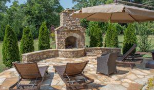 Stone Patio Fireplace