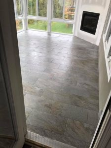 Tile Floor and Fireplace